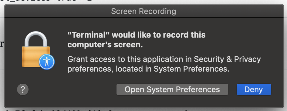 permission popup to record screen
